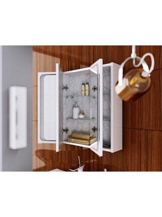 Шкаф-зеркало Милан с подсветкой,белый, Mil.04.08, AQWELLA