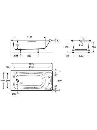 Ванна акриловая Roca BeCool 180x80 без комплектации ZRU9302782