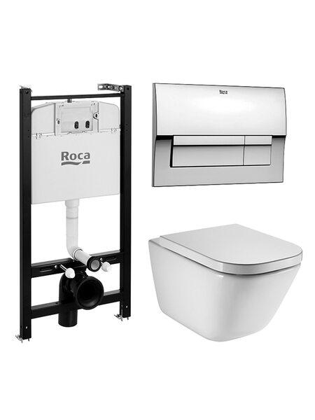 Комплект Roca The Gap подвесной унитаз с крышкой-сиденьем микролифт, инсталляция и кнопкой смыва 893104100
