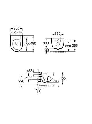 Унитаз подвесной Roca Meridian 346248000 Compact