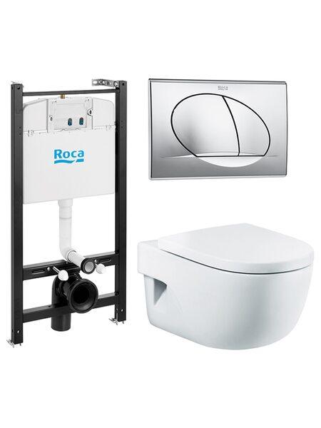 Комплект Roca Pack Meridian Compact 893104110 инсталляция,кнопка ,унитаз, сиденье