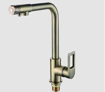 F4372-4 смеситель для кухни с подключением фильтра питьевой воды 40 мм бронза FRAP