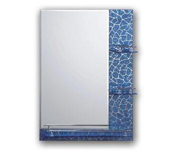 F657 Зеркало с полкой и рисунком 500*700, синее FRAP