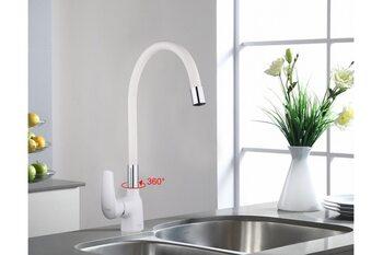 F4041 Смеситель для кухни, Гибкий излив, белый/хром FRAP