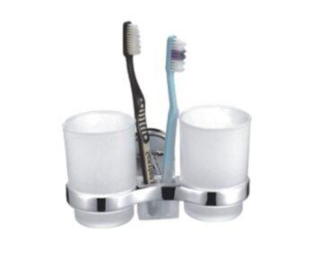 F1908 Держатель 2-стаканов стеклянный для зубных щеток FRAP