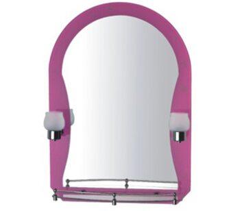 F652-04 Зеркало со светильником и полкой розовое. 500*700 FRAP
