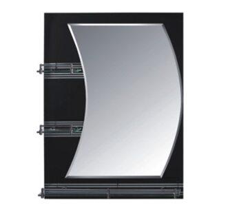 F680 Зеркало с полкой 600*800, черное FRAP