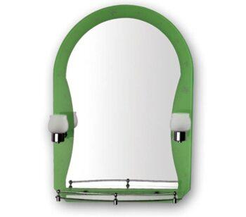 F652-46 Зеркало со светильником и полкой зеленое. 500*700 FRAP