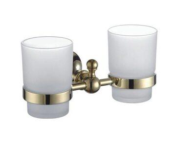 G1408 Держатель 2-стаканов/стекло. золото GAPPO
