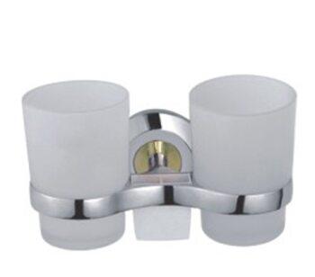 F1808 Держатель 2-стаканов/стекло хром/золото FRAP