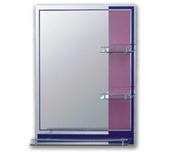 F621 Зеркало с полкой 600*800, розовое/синее FRAP