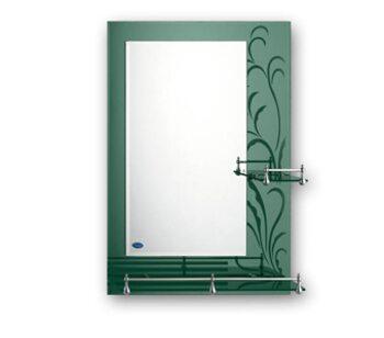 F686 Зеркало с полкой и рисунком 700*500, зеленый FRAP