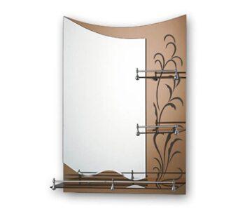 F687 Зеркало с полкой и рисунком 800*600, коричневый FRAP