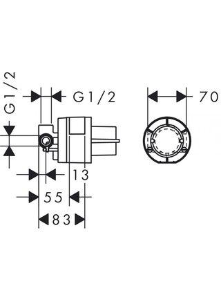 Скрытая часть Hansgrohe однорычажного смесителя для душа 13620180