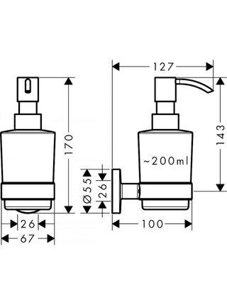 Дозатор для жидкого мыла Hansgrohe Logis Universal 41714000, 200 мл/2 мл