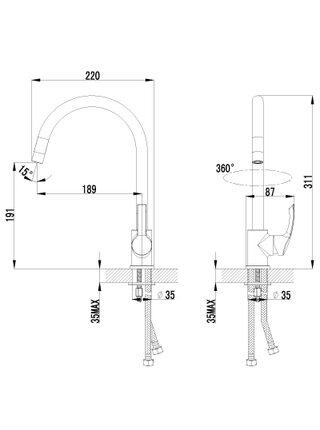 LM1105С Смеситель для кухни с высоким поворотным изливом PLUS STRIKE LEMARK