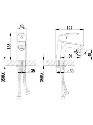 LM1106С Смеситель для умывальника монолитный PLUS STRIKE LEMARK