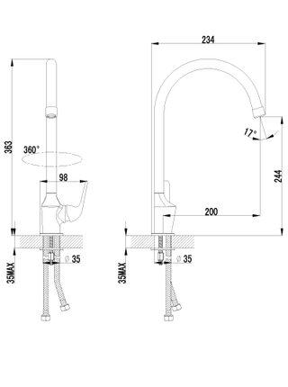 LM1205С Смеситель для кухни с высоким поворотным изливом PLUS ADVANCE LEMARK