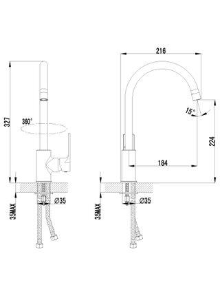 LM1505С Смеситель для кухни с высоким поворотным изливом PLUS GRACE LEMARK