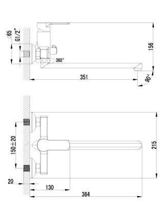 LM1551С Смеситель для ванны с плоским изливом 300 мм plus GRACE LEMARK