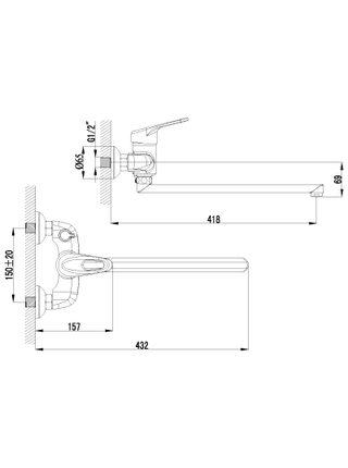 LM4117С Смеситель для ванны с плоским изливом 350 мм LUNA LEMARK