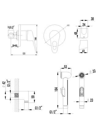 LM4119С Смеситель с гигиеническим душем встраиваемый LUNA LEMARK