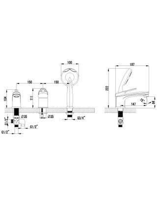 LM4145С Смеситель на борт ванны на 3 отверстия LUNA LEMARK