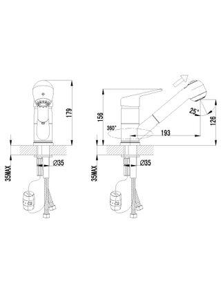 LM4150С Смеситель для кухни с выдвижным изливом  LUNA LEMARK
