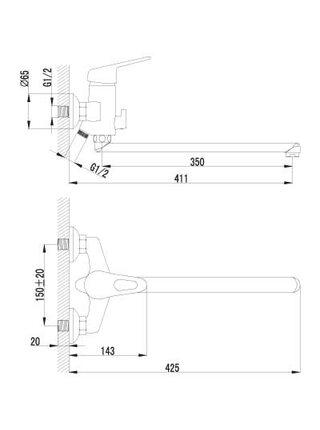LM4151С Смеситель для ванны с плоским изливом 350 мм LUNA LEMARK