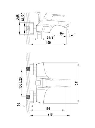 LM4502С Смеситель для ванны с коротким изливом UNIT LEMARK