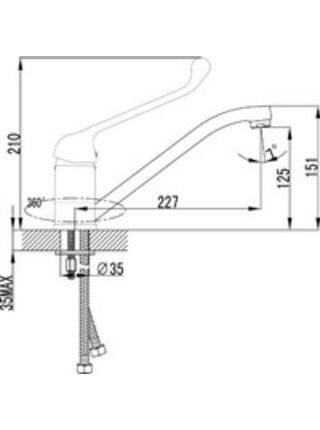 LM4604С Смеситель для кухни с локтевой рукояткой PROJECT LEMARK