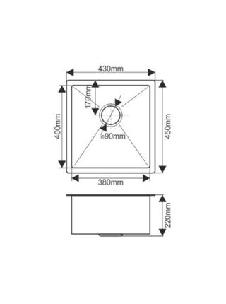 Мойка H4345 MELANA ProfLine 3,0/200 САТИН врезная прямоугольная с коландером H4345