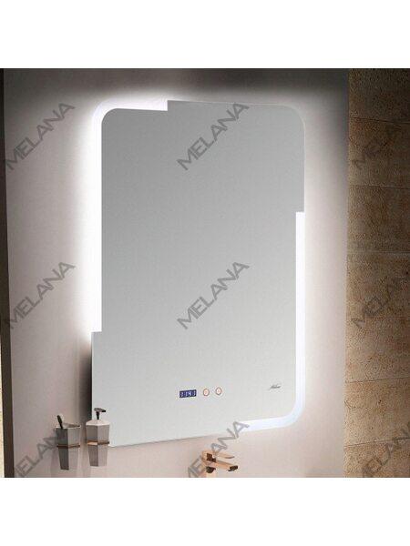 Зеркало с LED-подсветкой MELANA-6080 подогрев/часы (MLN-LED063)