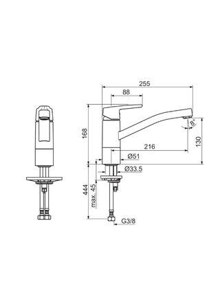 3930F Смеситель для кухни с поворотным изливом SAGA ORAS