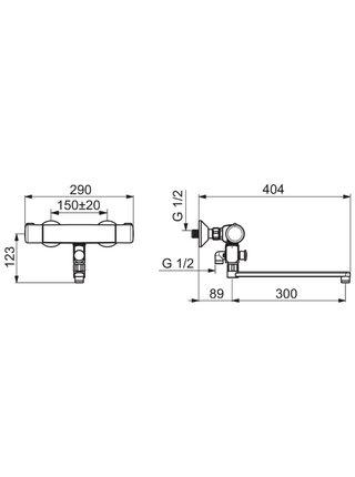 7446X Смеситель для ванны и душа термостатический NOVA ORAS