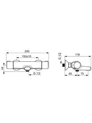 7462U Смеситель для ванны и душа термостатический NOVA ORAS