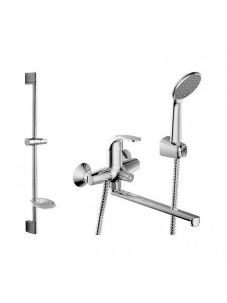 FIT: 7F6135188CP-LB-RUS+ 7D141C смеситель для ванны, душевая штанга с лейкой Bravat F00416C