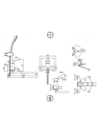 ECO Смеситель для ванны Bravat F6111147C-LB