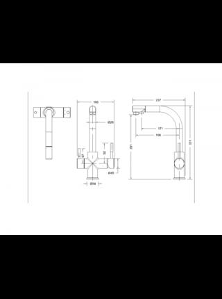 Palace Смеситель для кухни с подключением к фильтру с питьевой водой Bravat F729261CP-RUS
