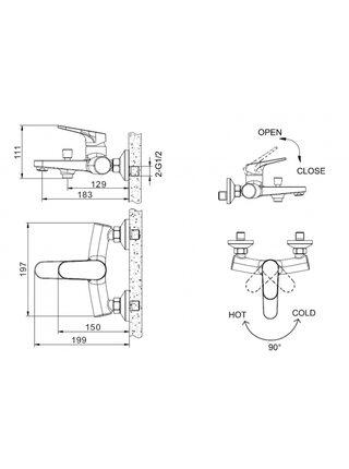 ELER Смеситель для ванны без аксессуаров Bravat F6191238CP-01-RUS