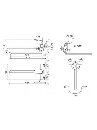 ELER Смеситель для ванны без аксессуаров Bravat F6191238CP-01L-RUS