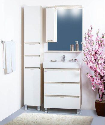 Шкаф-зеркало ТОКИО 70 L светлая/белый глянец