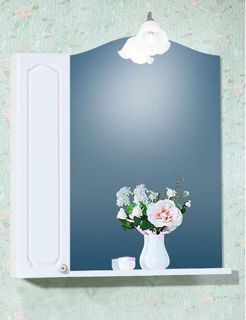 Шкаф-зеркало ЛЮЧИЯ 58 со шкафчиком ЛЮЧИЯ 20 белый глянец