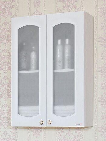 Шкаф навесной Анна 65 со стеклянными дверками белый глянец