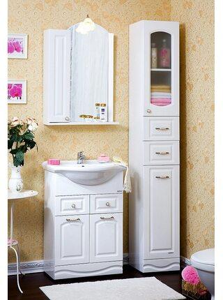 Шкаф-зеркало АННА 60 L белый глянец