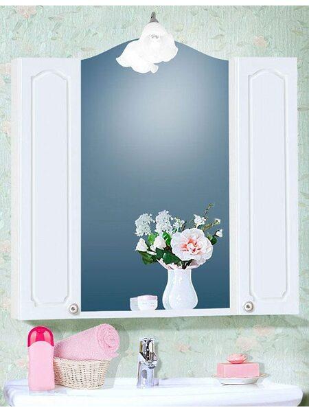 Шкаф-зеркало ЛЮЧИЯ 45 с двумя шкафчиками ЛЮЧИЯ 20 белый глянец