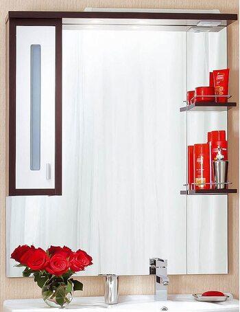 Шкаф-зеркало БАЛИ 90 L венге/белый глянец