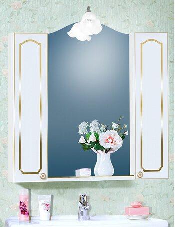 Шкаф-зеркало ЛЮЧИЯ 45 с двумя шкафчиками ЛЮЧИЯ 20 белый глянец/золото