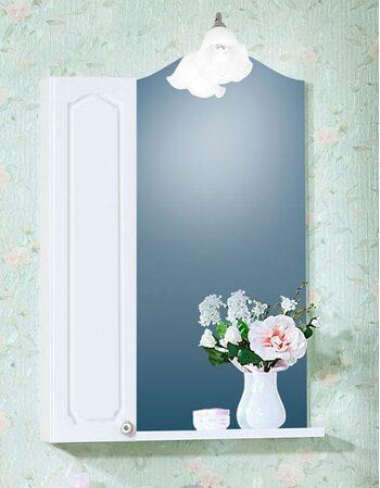 Шкаф-зеркало ЛЮЧИЯ 45 со шкафчиком ЛЮЧИЯ 20 белый глянец