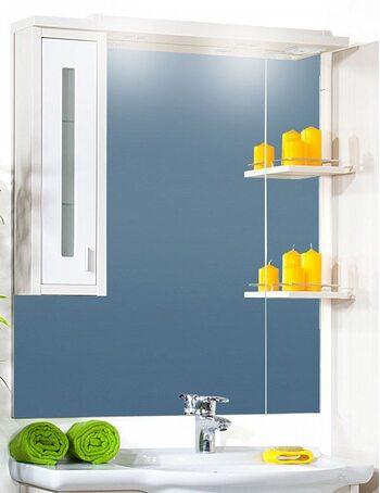 Шкаф-зеркало БАЛИ 90 L светлая/белый глянец